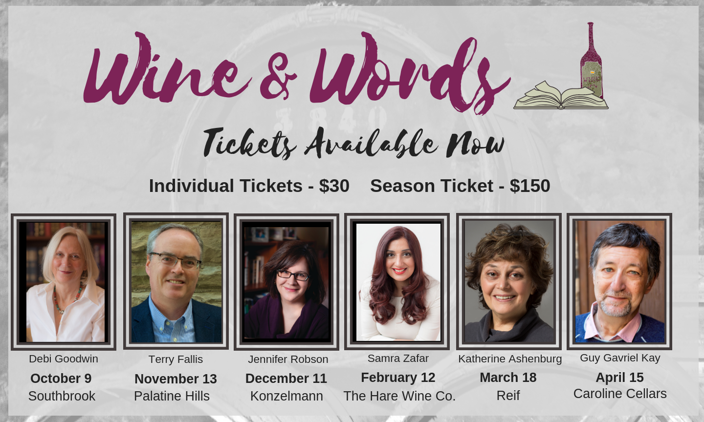Wine & Words Tickets Available Now